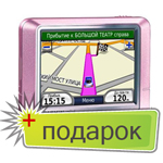 GPS навигатор Garmin Nuvi 200 Pink Metallic + Дороги Росси 5.03 (26 областей) + ЗУ от сети 220в в Подарок.